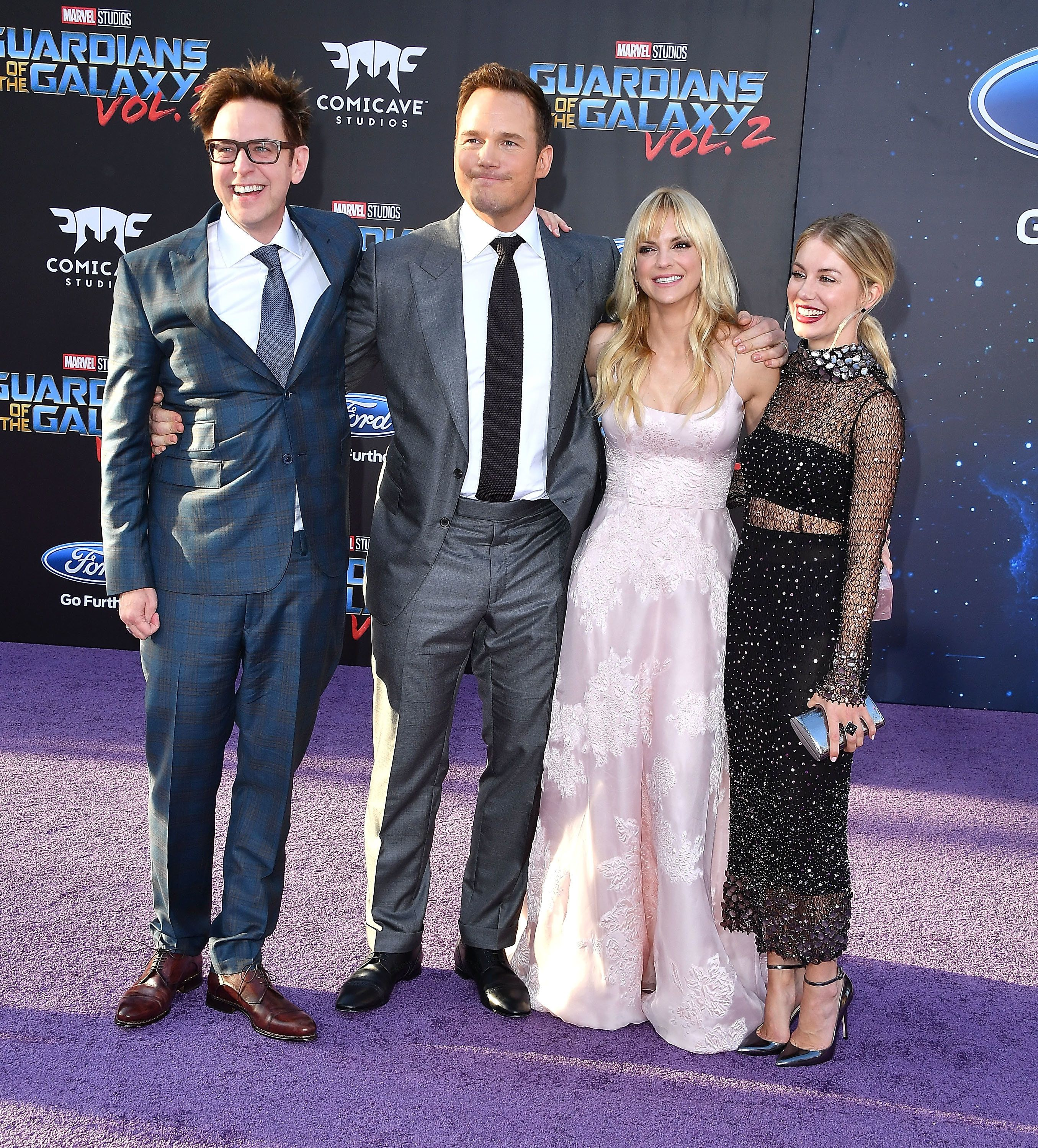 HOLLYWOOD, CA - APRIL 19:  James Gunn;Chris Pratt, Anna Faris;Jennifer Holland arrives at the Premiere Of Disney And Marvel's 'Guardians Of The Galaxy Vol. 2' at Dolby Theatre on April 19, 2017 in Hollywood, California.  (Photo by Steve Granitz/WireImage)