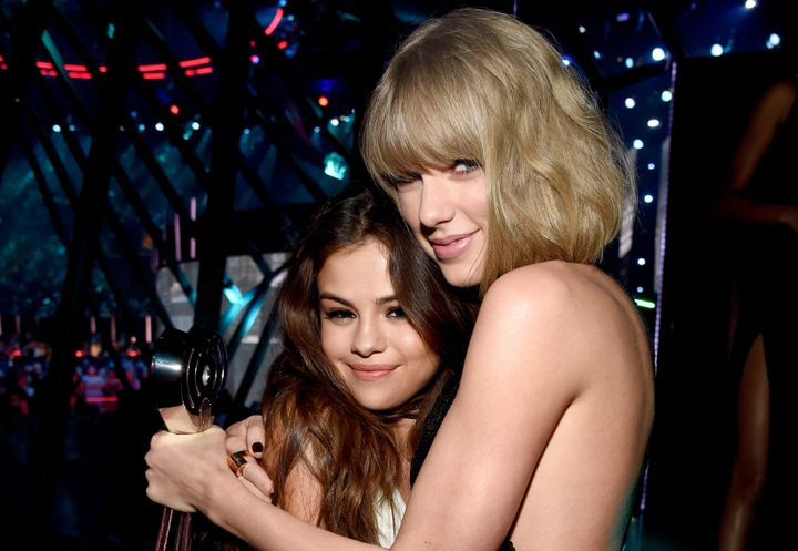 Selena Gomez and Taylor Swift share an embrace in 2016.