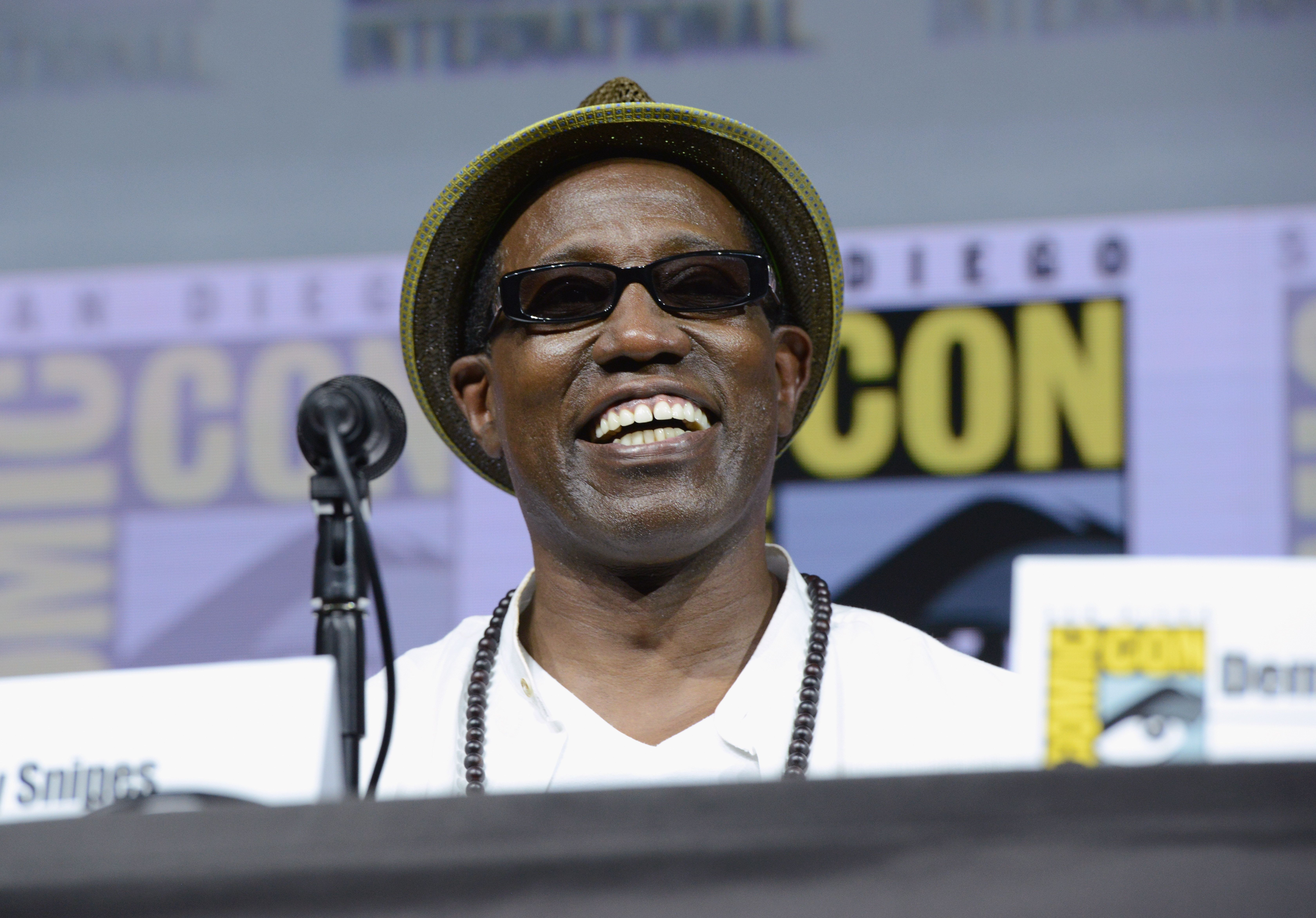 SAN DIEGO, CA - JULY 21:  Wesley Snipes speaks onstage at RZA: Movies, Music and Martial Arts during Comic-Con International 2018 at San Diego Convention Center on July 21, 2018 in San Diego, California.  (Photo by Albert L. Ortega/Getty Images)