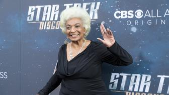 LOS ANGELES, CA - SEPTEMBER 19:  Actress Nichelle Nichols arrives for the Premiere Of CBS's 'Star Trek: Discovery' at The Cinerama Dome on September 19, 2017 in Los Angeles, California.  (Photo by Greg Doherty/Patrick McMullan via Getty Images)