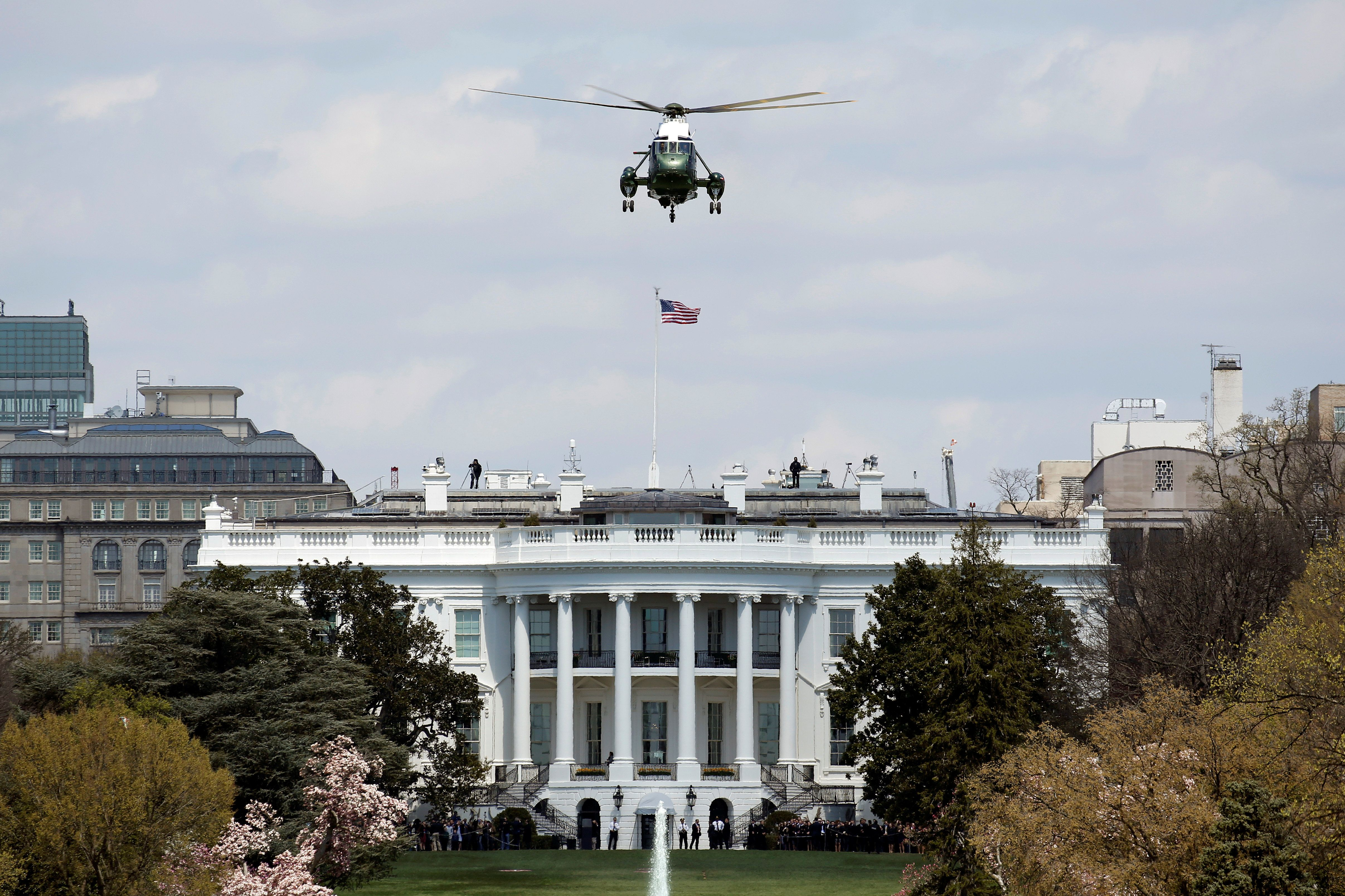 Marine One carrying U.S. President Donald Trump takes off from the South Lawn of the White House in Washington, U.S., April 5, 2018. REUTERS/Joshua Roberts