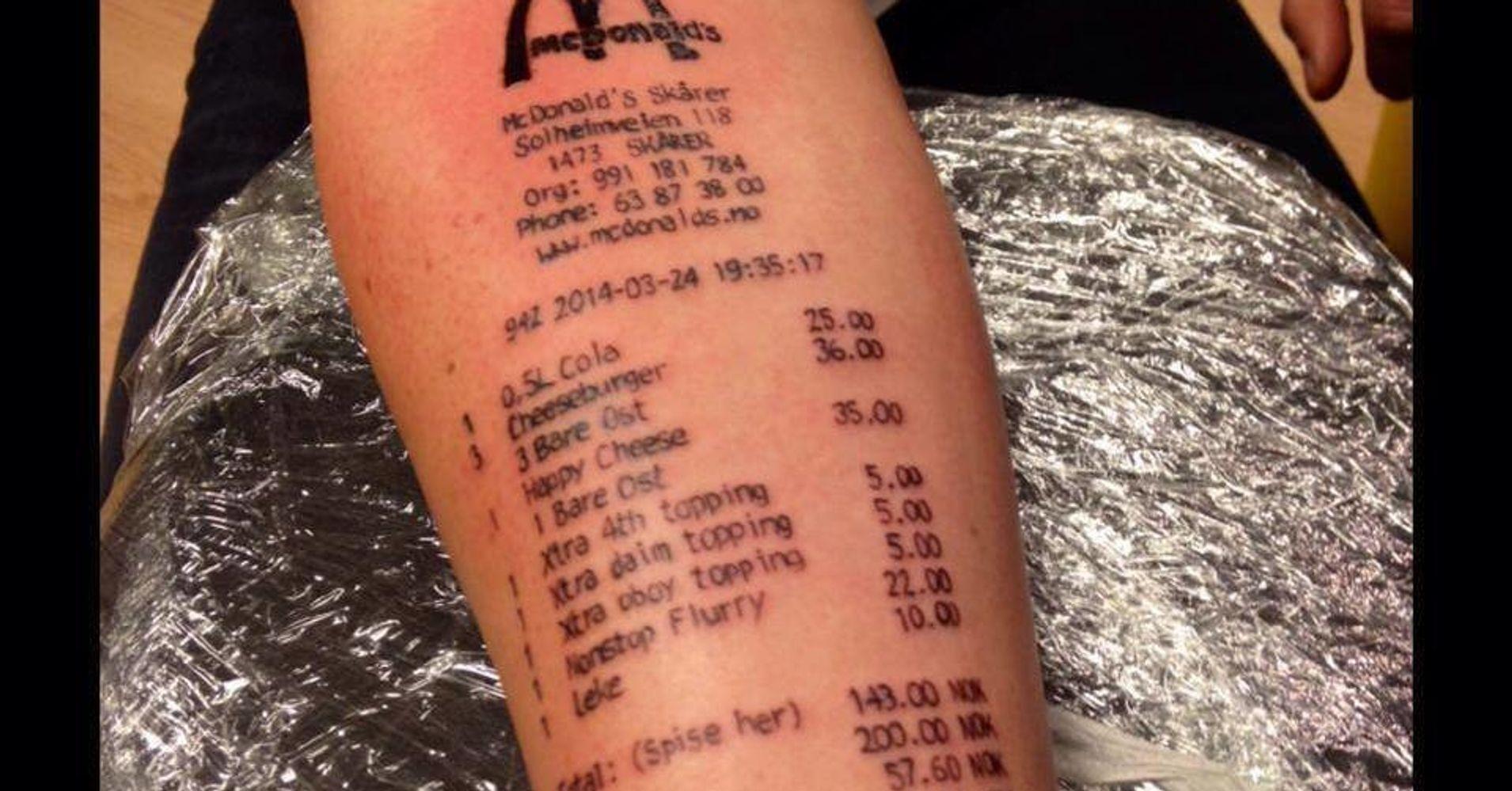097db3902 Man Gets McDonald's Receipt Tattooed On Arm | HuffPost