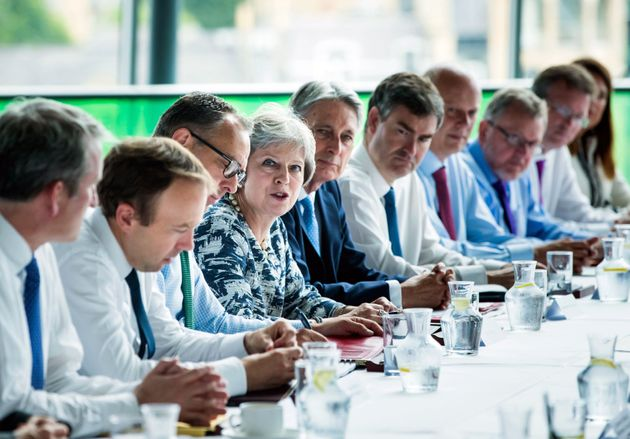 Prime Minister Theresa May speaks during a Cabinet meeting at Sage Gateshead