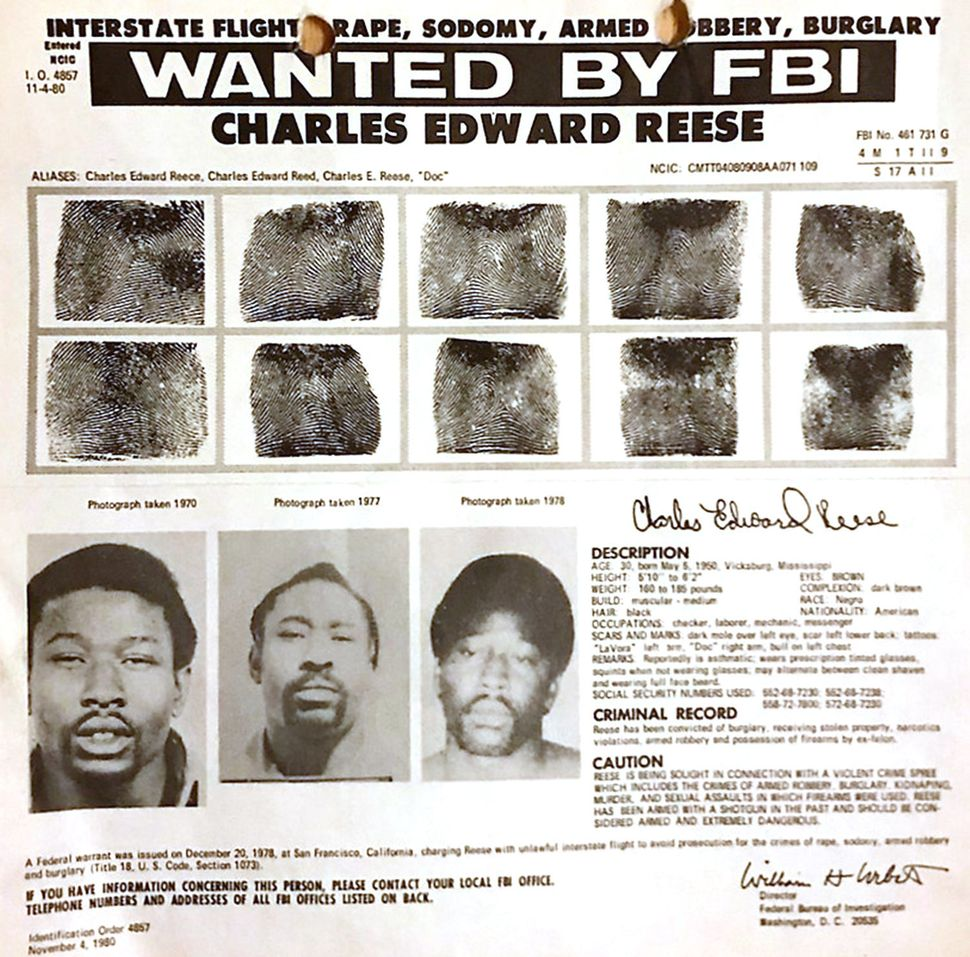 An FBI wanted poster identifying Charles Reese.