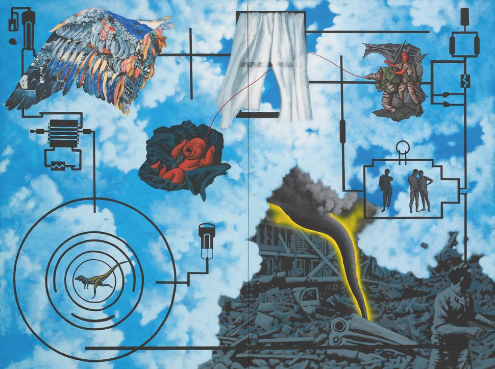 David Wojnarowicz (1954–1992),<i>Wind (For Peter Hujar)</i>, 1987. Acrylic and collaged paper on composition boar