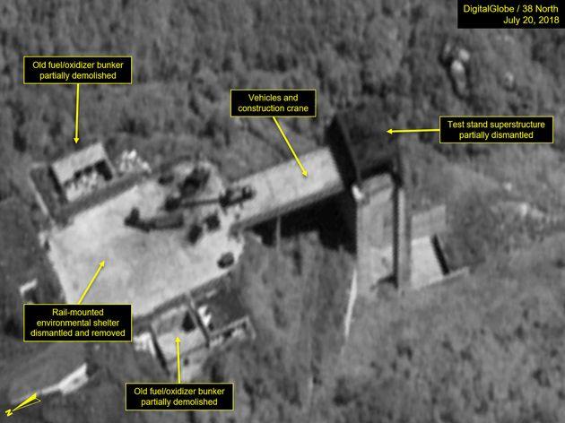 북한이 약속대로 탄도미사일 '엔진 시험장' 해체에