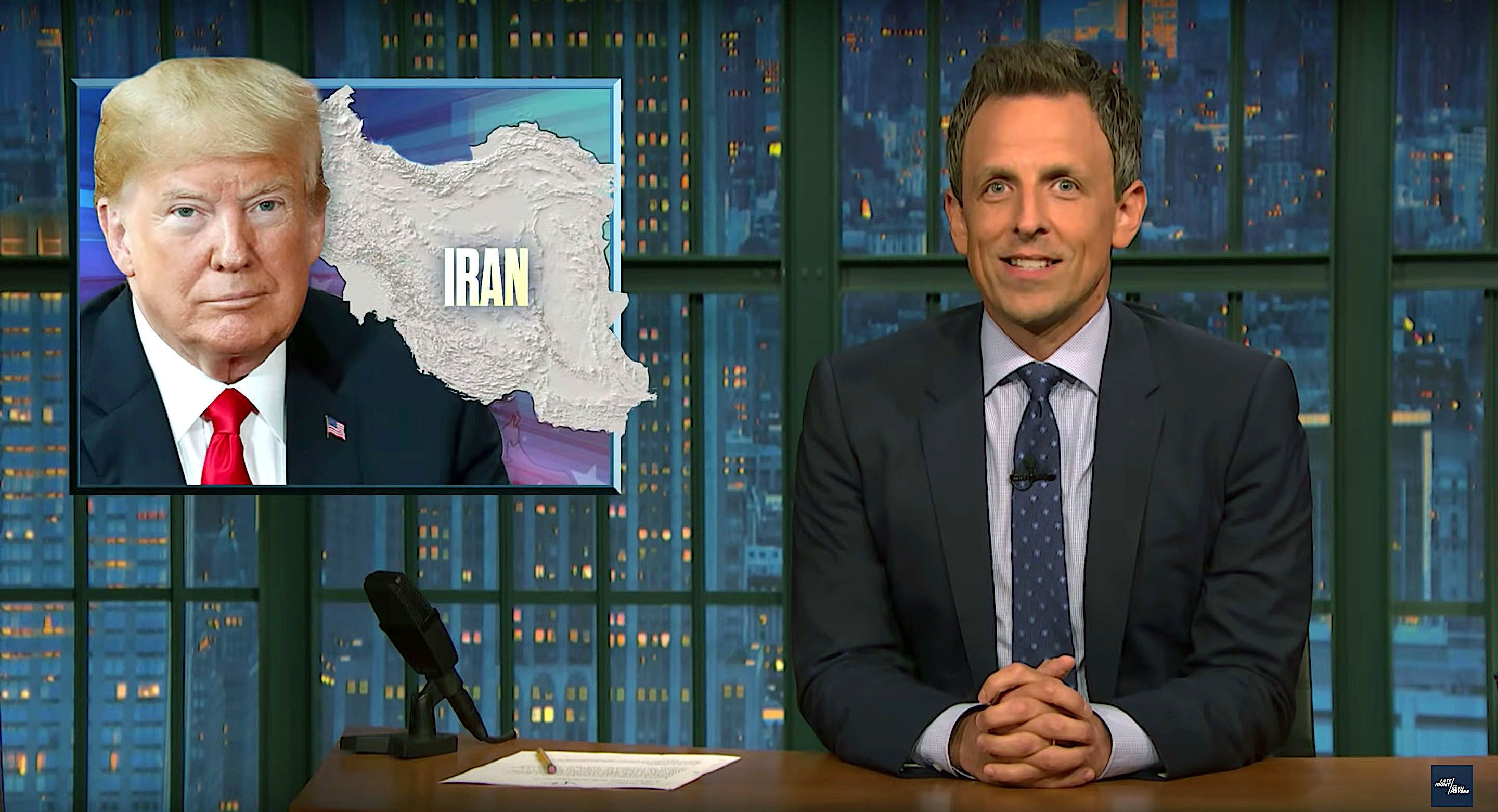 Late Night host Seth Meyers weighs in on President Donald Trumps tweet about Iran