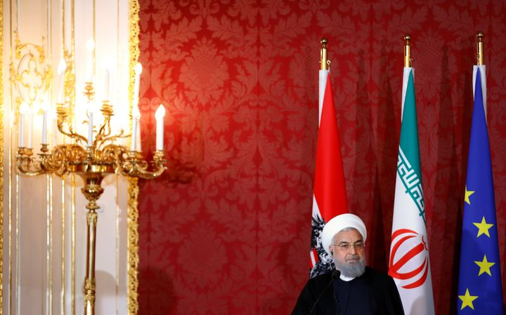 Iranian President Hassan Rouhani attends a news conference in Vienna, Austria, July 4, 2018.