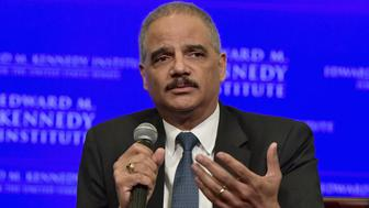 BOSTON, MA - MAY 30:  Former United States Attorney General Eric Holder is interviewed by Jeffrey Toobin for a discussion on gerrymandering and its impact on the American politcal system  at the Edward M. Kennedy Institute for the United States Senate on May 30, 2018 in Boston, Massachusetts.  Holder is a partner at Covington and serves as the Chairman of the National Democratic Redistricting Committee.  (Photo by Paul Marotta/Getty Images)