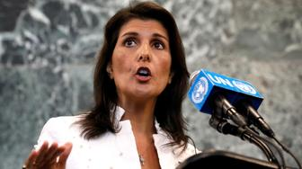 U.S. Ambassador to the United Nations Nikki Haley speaks at a press briefing at U.N. headquarters in New York City, New York, U.S., July 20, 2018. REUTERS/Brendan McDermid