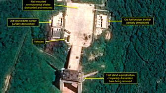 This July 22 2018 satellite image released and annotated by 38 North on Monday July 23 2018 shows what the US research group says is the dismantled engine test stand at the Sohae launch site in North Korea The US research group says North Korea has started dismantling key facilities at its main satellite launch site in what appears to be a step toward fulfilling a commitment made by leader Kim Jong Un at his summit with President Donald Trump in June