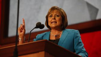 TAMPA, FL - AUGUST 29:New Mexico Gov. Susana Martinez (R) speaks during the 2012 Republican National Convention at the Tampa Bay Times Forum on August 29, 2012 in Tampa, Florida.  (Photo by Lucian Perkins for The Washington Post via Getty Images)