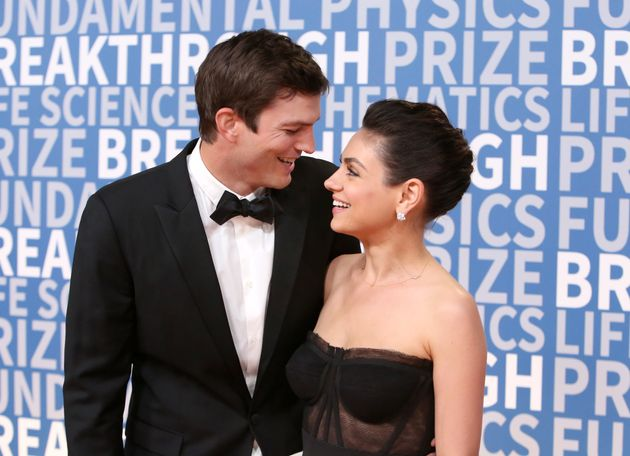 Ashton Kutcher and Mila Kunis at the 2018 Breakthrough Prize on Dec. 3,