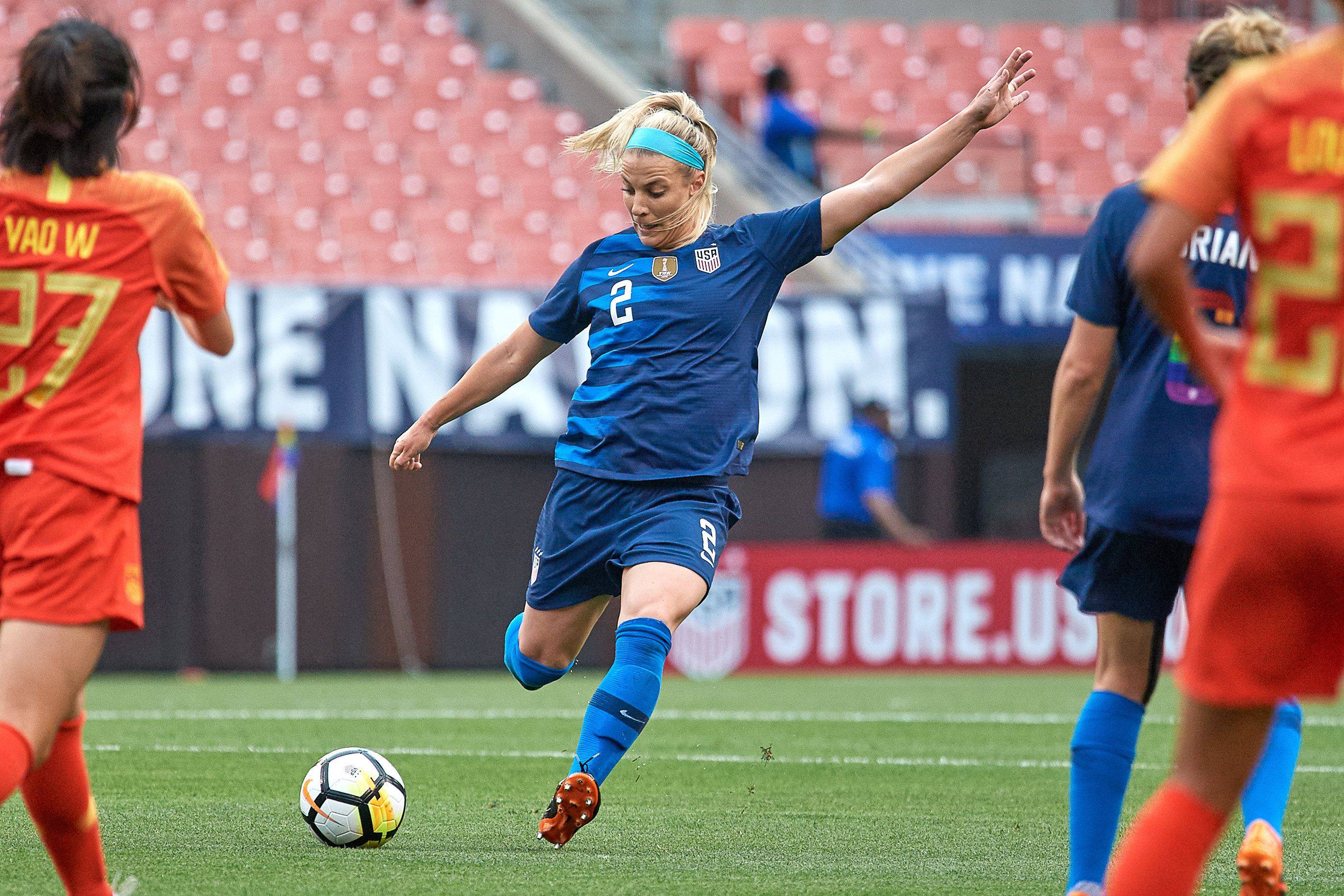 CLEVELAND, OH - JUNE 12: United States midfielder Julie Ertz (2) kicks the ball during an international friendly soccer match between the USA and China Women's National Teams on June 12, 2018, at FirstEnergy Stadium in Cleveland, Ohio. (Photo by Robin Alam/Icon Sportswire via Getty Images)