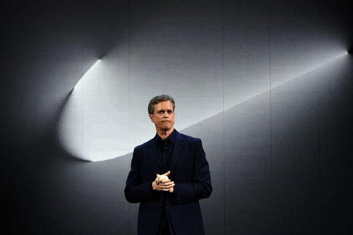 Nike CEO Mark Parker speaks at an event in March 2016. His company was jolted by reports of widespread sexual misconduct earl