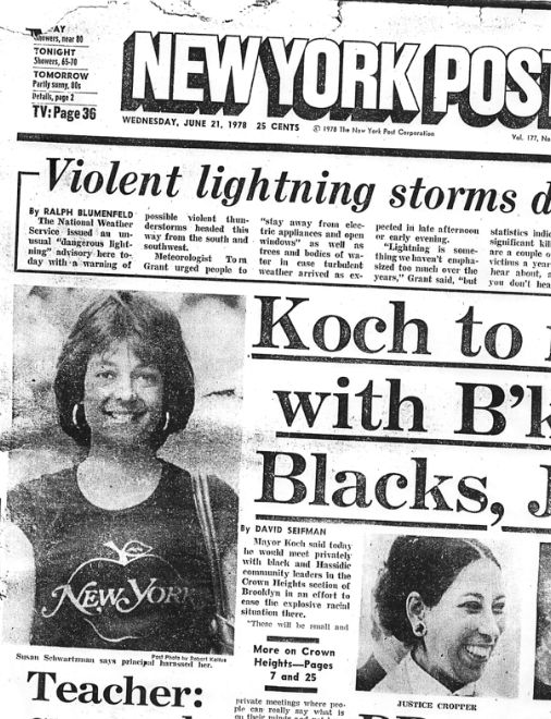 Susan Schwartzman was featured on the front page of the New York Post in 1978 after she went public with her story of sexual