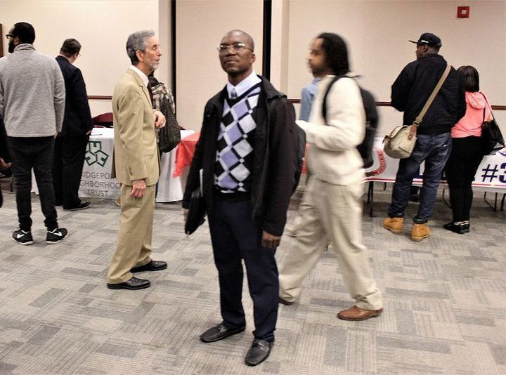 Michael Hankins at a job fair in Bridgeport. Hankins recently returned to Connecticut from Texas, where he earned an HVAC acc