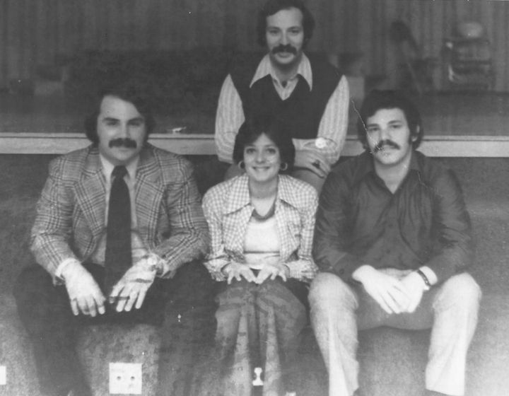 Schwartzman (center) in 1975 with fellow teachers at their middle school.