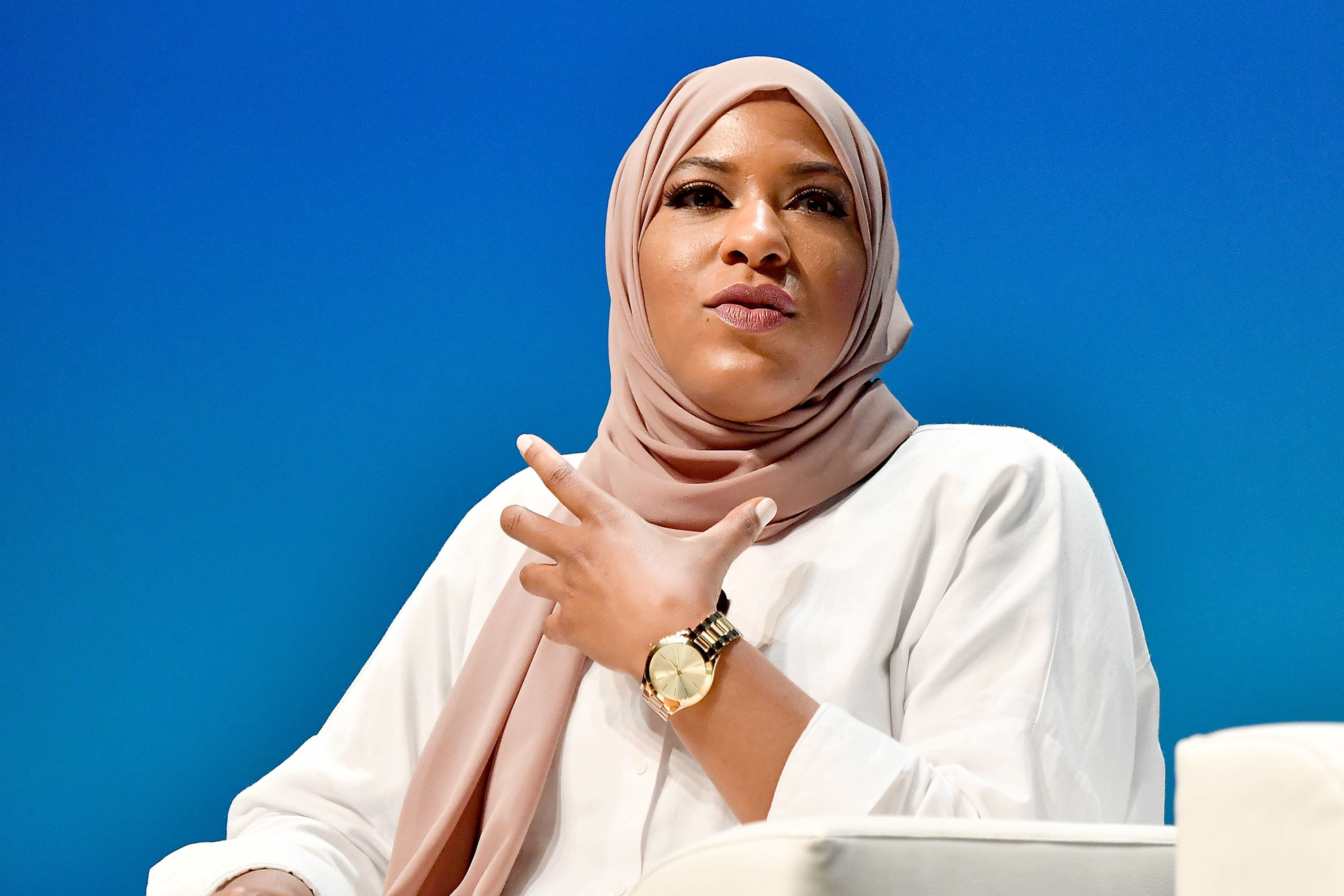 CANNES, FRANCE - JUNE 20: Olympic Medalist Ibtihaj Muhammad speaks onstage during the Wasserman session at the Cannes Lions Festival 2018 on June 20, 2018 in Cannes, France.  (Photo by Dominique Charriau/Getty Images for Cannes Lions)