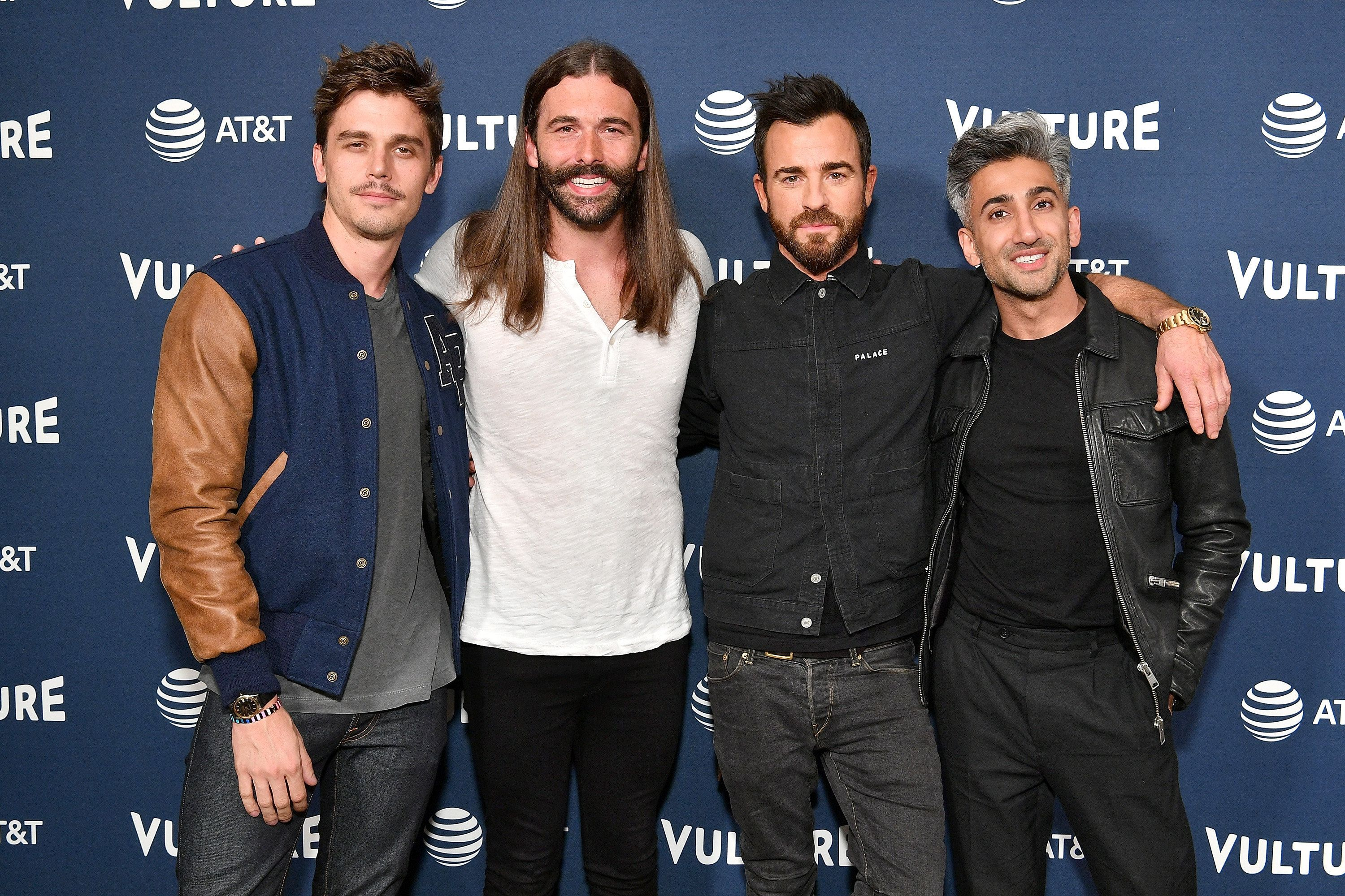 NEW YORK, NY - MAY 20:  Antoni Porowski, Jonathan Van Ness, Justin Theroux, and Tan France attend Day Two of the Vulture Festival Presented By AT&T at Milk Studios on May 20, 2018 in New York City.  (Photo by Dia Dipasupil/Getty Images for Vulture Festival)