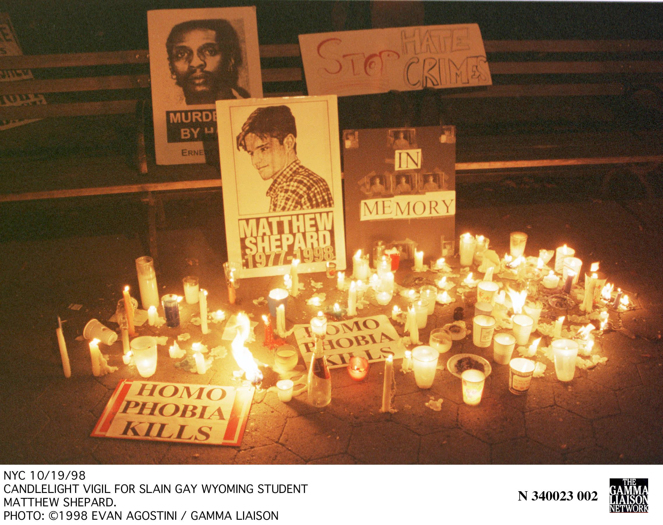 A candlelight vigil was held in New York for Matthew Shepard about a month after he was beaten to death...