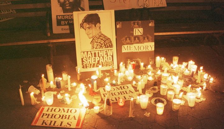 A candlelight vigil was held in New York for Matthew Shepard about a month after he was beaten to death in Wyoming in 1998. H