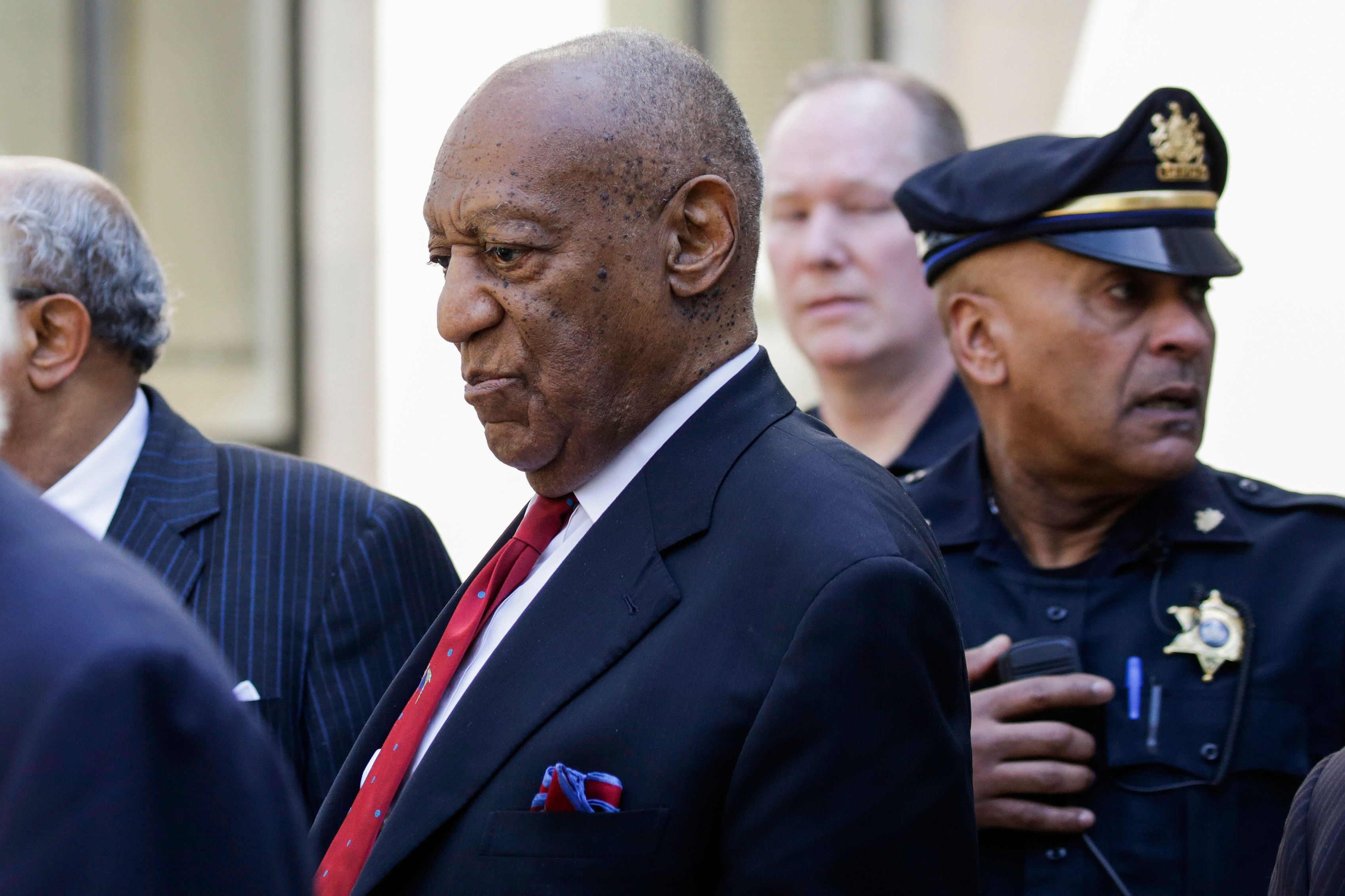 Actor and comedian Bill Cosby comes out of the Courthouse after the verdict in the retrial of his sexual assault case at the Montgomery County Courthouse in Norristown, Pennsylvania on April 26, 2018. - Disgraced television icon Bill Cosby was convicted Thursday of sexual assault by a US jury -- losing a years-long legal battle that was made tougher at retrial as the first celebrity trial of the #MeToo era. (Photo by DOMINICK REUTER / AFP)        (Photo credit should read DOMINICK REUTER/AFP/Getty Images)
