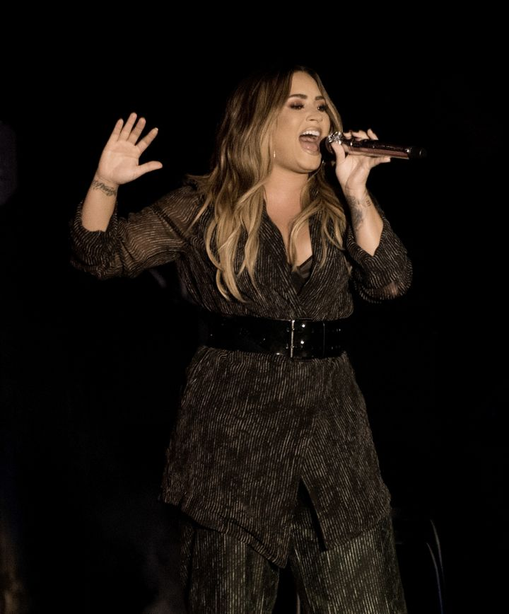 Demi Lovato performs during the 2018 California Mid-State Fair on July 22.