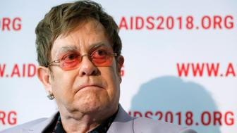 British musician Elton John looks on during a news conference at the 22nd International AIDS Conference (AIDS 2018), the largest HIV/AIDS-focused meeting in the world, in Amsterdam, Netherlands, July 24, 2018.   REUTERS/Yves Herman