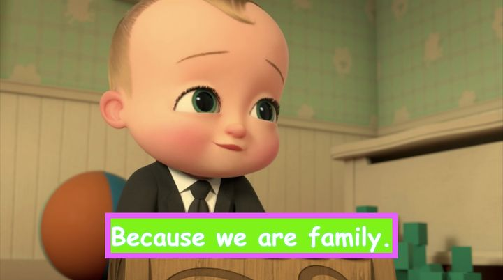 """""""The Boss Baby: Back in Business"""" on Netflix, with customized subtitles."""