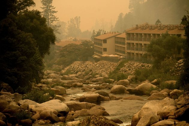 Smoke from the Ferguson fire hangs over the Yosemite View Lodge in El Portal, California, on