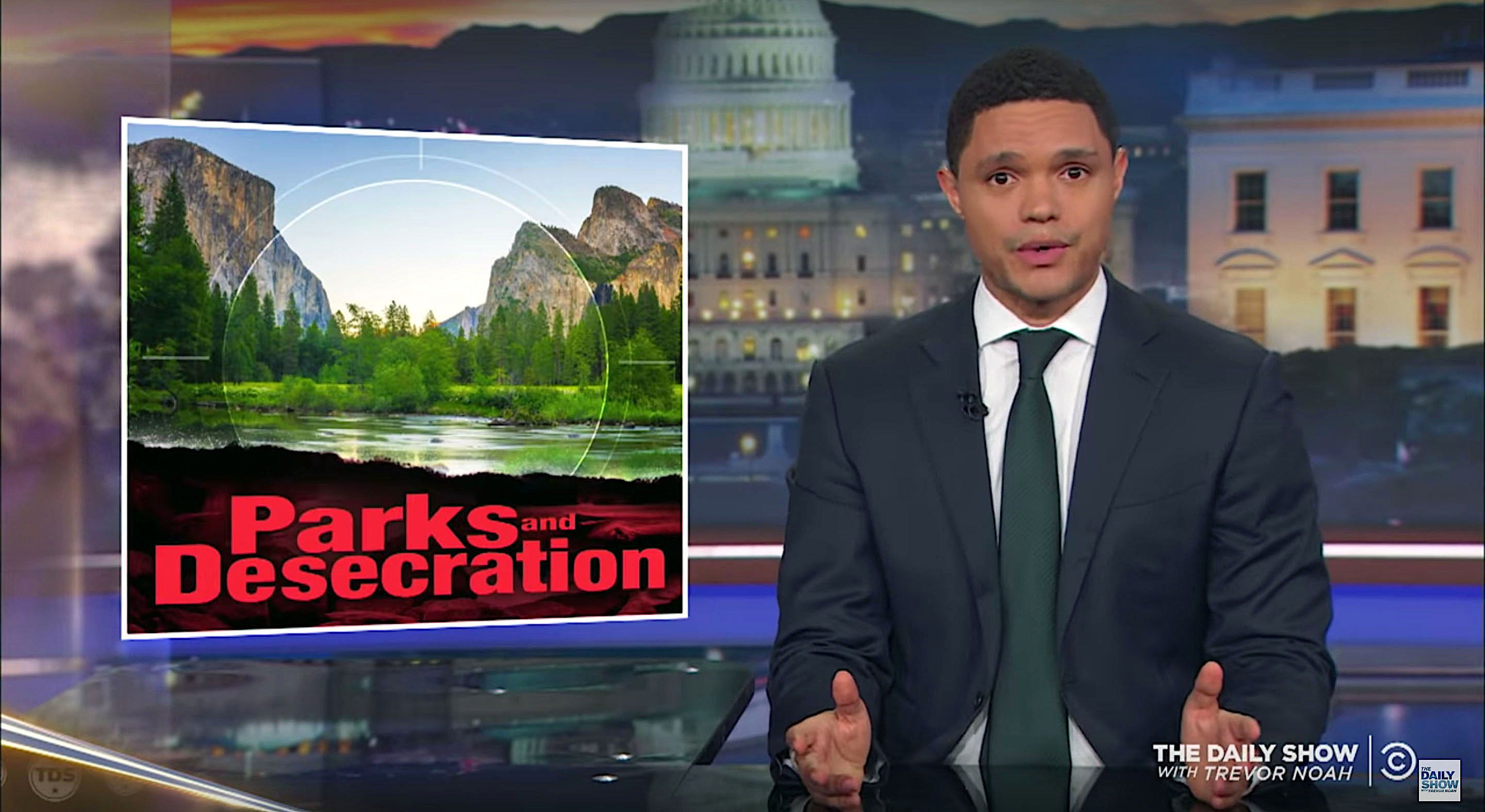 Trevor Noah of The Daily Show calls out the Trump administration on conservation issues