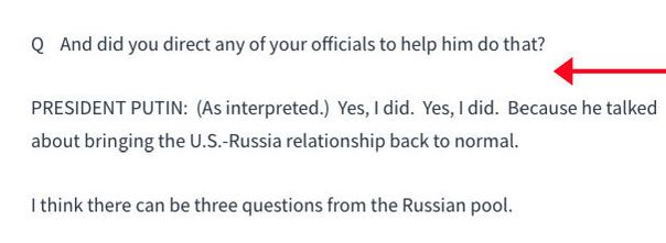 A White House transcript of the press conference omits the first part of Jeff Mason's question to President Putin.
