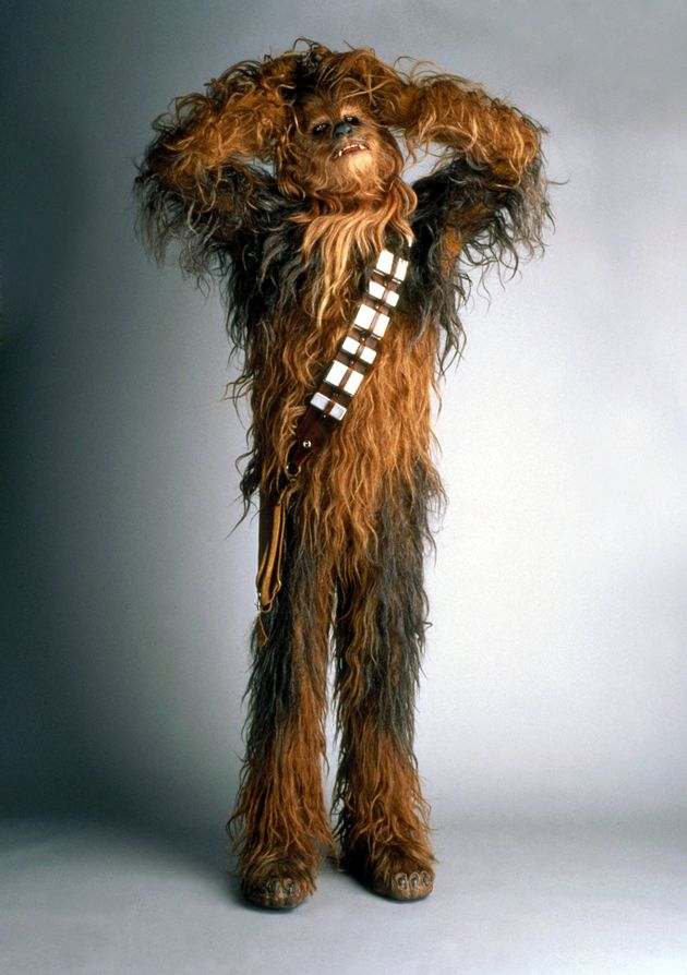 Peter Mayhew in character as
