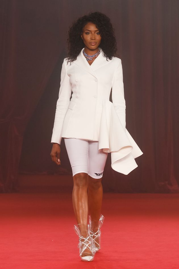 aomi Campbell walks the runway during the Off/White show as part of Paris Fashion Week Womenswear Spring/Summer...