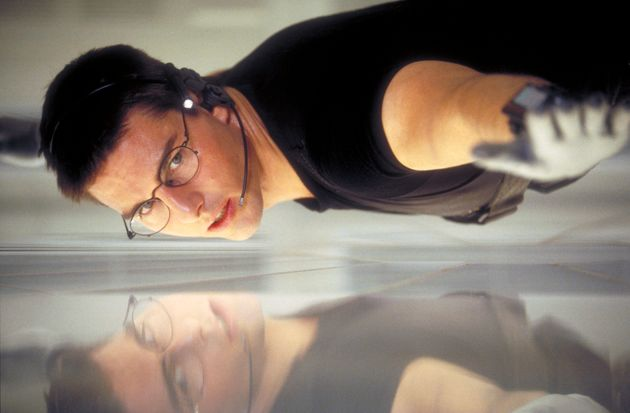 """Tom Cruise as Ethan Hunt (and himself?!) in a scene from the first """"Mission: Impossible""""..."""