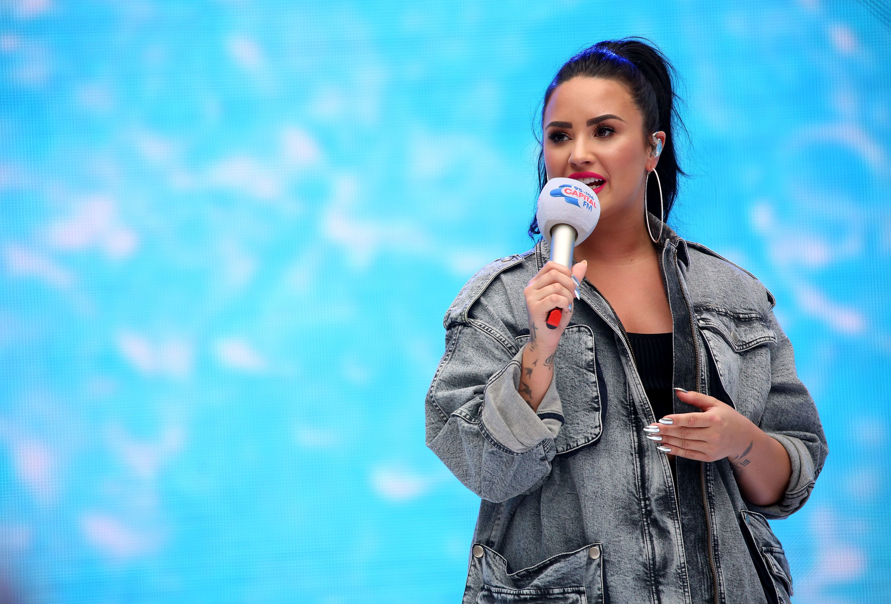 Demi Lovato on stage during Capital's Summertime Ball with Vodafone at Wembley Stadium, London. (Photo by Isabel Infantes/PA Images via Getty Images)