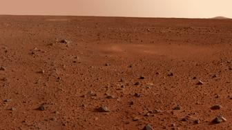 January 19, 2004 - This full-resolution image taken by the panoramic camera onboard the Mars Exploration Rover Spirit before it rolled off the lander shows the rocky surface of Mars. Scientists are eager to begin examining the rocks because, unlike soil, these 'little time capsules' hold memories of the ancient processes that formed them. Data from the camera's red, green and blue filters were combined to create this approximate true color picture.