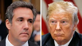 A combination photo shows U.S. President Donald Trump's onetime personal attorney, Michael Cohen and U.S. President Donald Trump from outside federal court in the Manhattan borough of New York City, New York, U.S., April 16, 2018 and in the White House in Washington, U.S., July 18, 2018.   REUTERS/Lucas Jackson, Leah Millis/File Photos