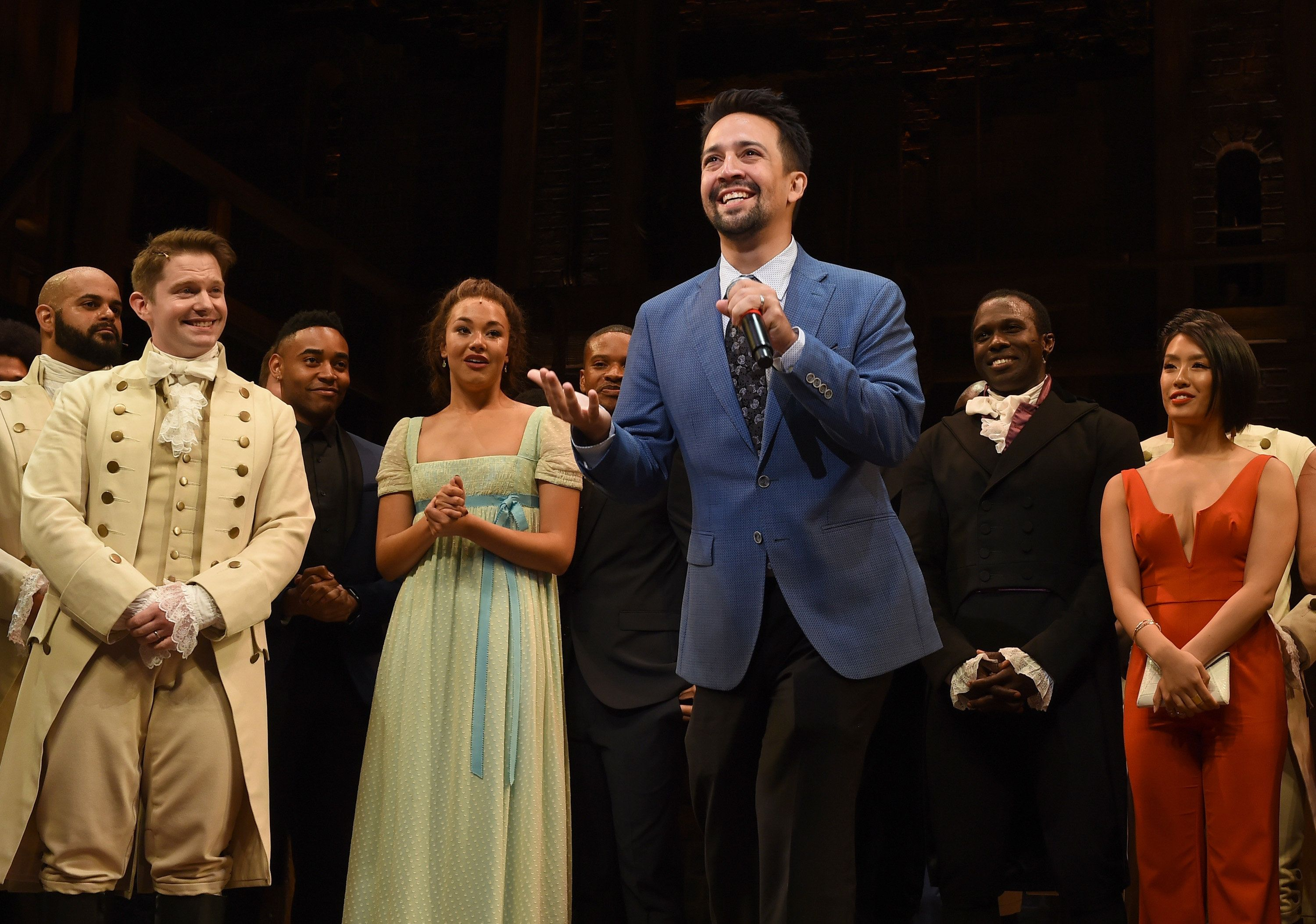 "Lin-Manuel Miranda and the cast appear on stage at the opening night curtain call for ""Hamilton"" at the Pantages Theatre on A"