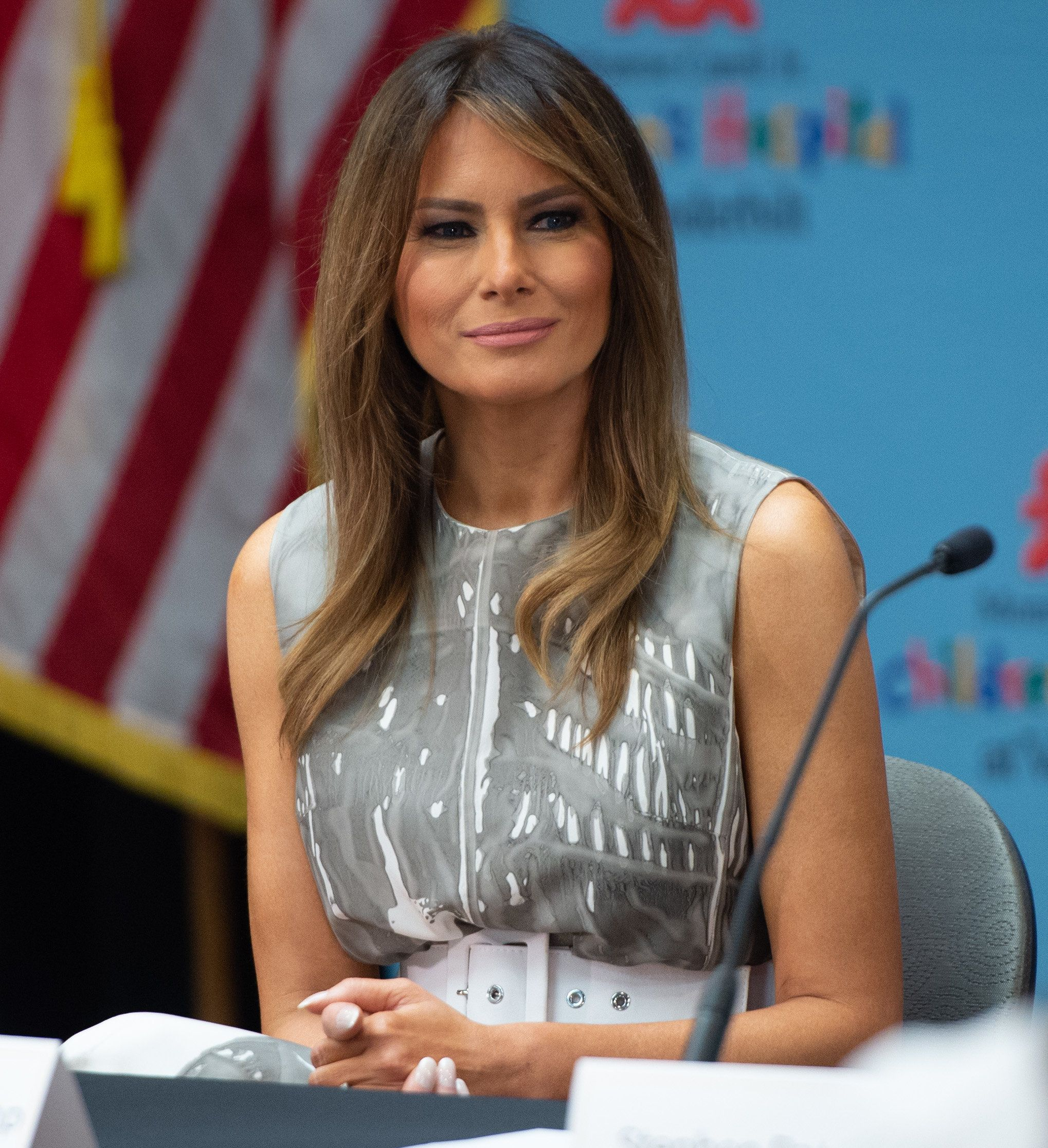 US First Lady Melania Trump holds a roundtable discussion on neonatal abstinence syndrome (NAS) during a visit to Monroe Carell Jr. Children's Hospital at Vanderbilt in Nashville, Tennessee, July 24, 2018, as part of her 'Be Best' campaign. (Photo by SAUL LOEB / AFP)        (Photo credit should read SAUL LOEB/AFP/Getty Images)