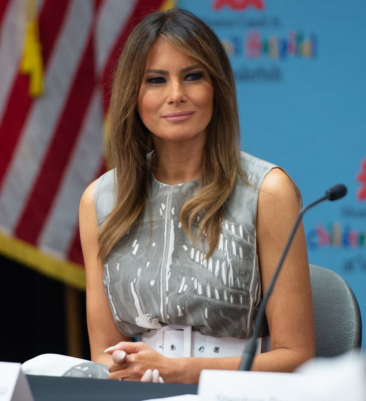 First Lady Melania Trumpis seen holding a discussion on neonatal abstinence syndrome (NAS) during a visit to Monroe Car