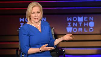 US Senator Kirsten Gillibrand(D-NY) speaks onstage at the Women of the World Summit on April 13, 2018 in New York City. / AFP PHOTO / ANGELA WEISS        (Photo credit should read ANGELA WEISS/AFP/Getty Images)