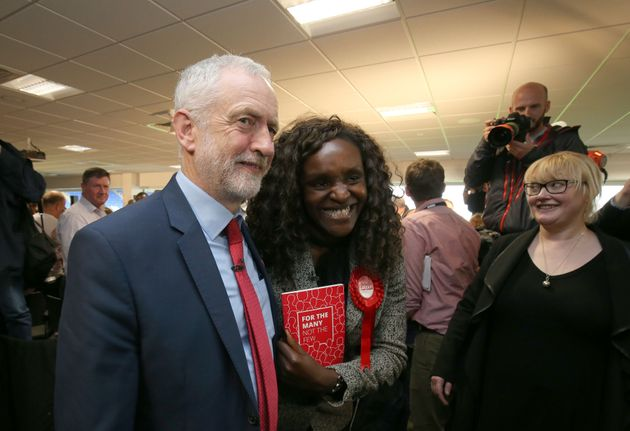 Labour leader Jeremy Corbyn with Fiona Onasanya on the campaign trail last