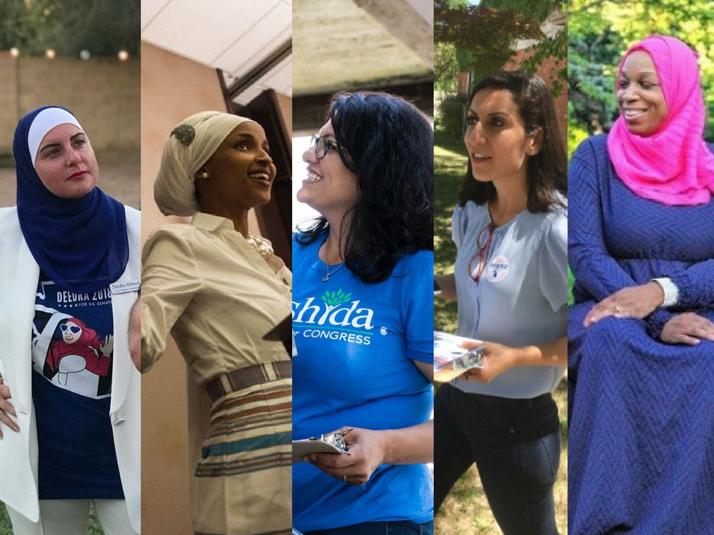 From left congressional candidates Deedra Abboud Ilhan Omar Rashida Tlaib Fayrouz Saad and Tahirah Amatul-Wadud