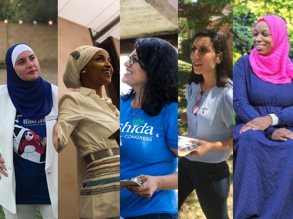 From left: congressional candidates Deedra Abboud, Ilhan Omar, Rashida Tlaib, Fayrouz Saad and Tahirah Amatul-Wadud