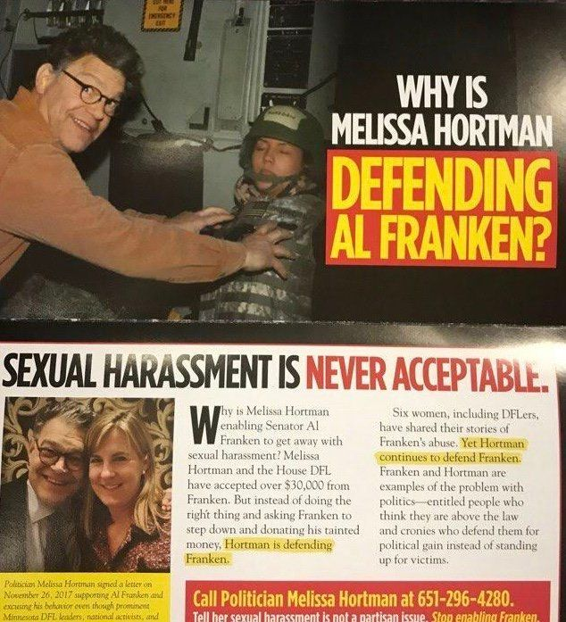 A mailer by the GOP-aligned group Minnesota Jobs Coalition went after a Minnesota lawmaker for supporting Al Franken.
