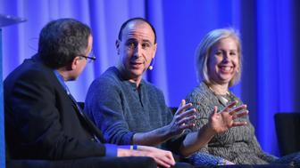 NEW YORK, NY - FEBRUARY 02:  (L-R): Michael Kinsley, contributing editor at Vanity Fair, Jonathan Chait, columnist at New York Magazine, and Nancy Gibbs, editor at TIME speak onstage at the American Magazine Media Conference at Grand Hyatt New York on February 2, 2016 in New York City.  (Photo by Larry Busacca/Getty Images for Time Inc)