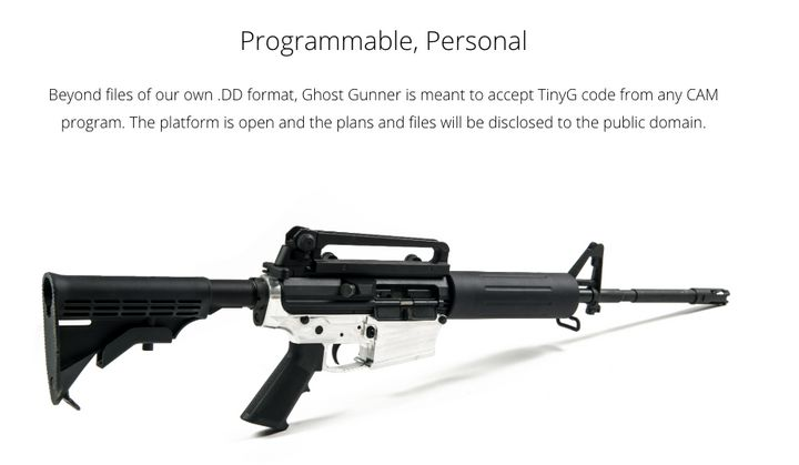A screenshot of the Ghost Gunner website, advertising an AR-15 with a metal receiver constructed with the company's