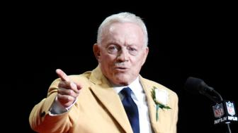 Aug 5, 2017; Canton, OH, USA;  Dallas Cowboys owner Jerry Jones delivers his acceptance speech during the Professional Football HOF enshrinement ceremonies at the Tom Benson Hall of Fame Stadium. Mandatory Credit: Charles LeClaire-USA TODAY Sports